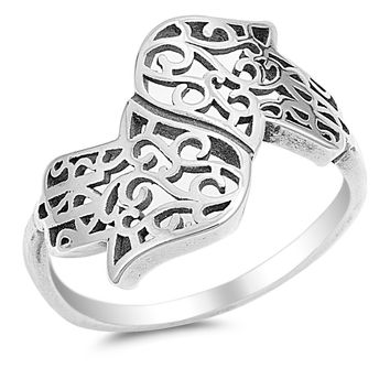 925 Sterling Silver Dual Hand of God Filigree Hamsa Ring 16MM