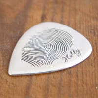 $142 Personalised Fingerprint guitar plectrum pick Hand by chrisparry