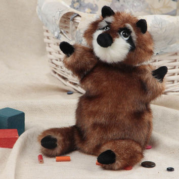 Handmade soft glove toy sewn of faux fur Raccoon for home puppet theater