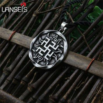 ac DCCKO2Q 1pcs Fern Flower pendant Ancient Slavic Amulet symbol warrior talisman pendant norse Occult Pagan jewelry Germanic men necklace