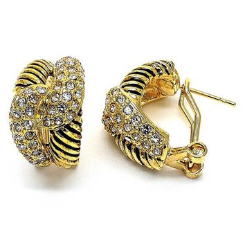 Gold Layered Stud Earring, Love Knot Design, with Crystal, Gold Tone