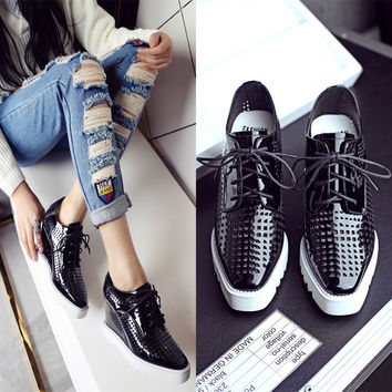 Summer Casual Square Toe Platform Height Increase Stylish Shoes [6050461889]