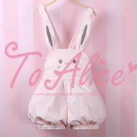 Super Cute Girls Pink Rabbit Bunny Ears Overall Shorts Lolita Dungarees Shartall Rompers Adjustable Length