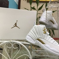 [Free Shipping ]Nike Air Jordan 12 XII Retro OVO  White Gold Wings Drake  Basketball Sneaker