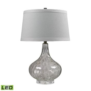 Clear Water Glass LED Table Lamp With White Linen Shade Clear