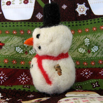 Snowman Christmas Ornament Needle Felted Wool