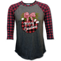 Couture Lightheart Plaid Merry Christmas Raglan Long Sleeve T-Shirt