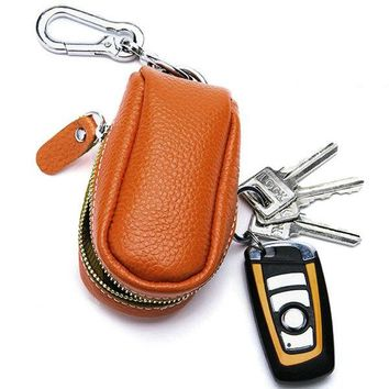 Women Men Genuine Leather Car Key Holder House Key Holder Bag