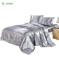 1 PC European Style Bed Sheet Jacquard Satin Bedding Sheet/bedclothes Twin Full Queen King Size Silver Sheet