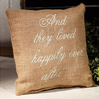 And They Lived Happily Ever After - French Flea Market Burlap Accent Throw Pillow 8-in x 8-in