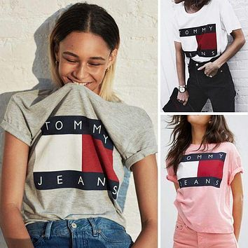 Tommy Jeans Women Tee Shirt T-Shirt Top Blouse Grey