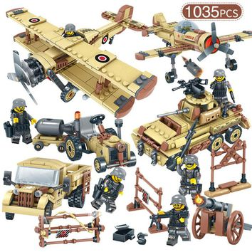 WW2 Germany Military Car Fighter Tank Truck Building Blocks Figures Airplane Models Bricks Compatible LegoINGly Toy For Children