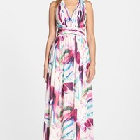 Women's Aidan by Aidan Mattox Print Chiffon Open Back Gown