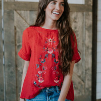 'Lucia' Floral Embroidered Top