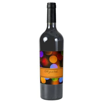 Multicolored Christmas lights. Add text or name. Wine Label
