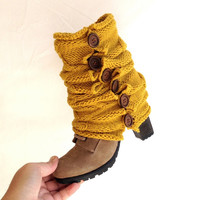 yellow Gold cable knitted Boot cuff Winter Leg warmers Open Knit Button Boot Socks Knit leg warmers for her gift guide 2014 senoAccessory