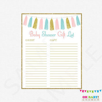 Pink and Blue Baby Shower, Gift List, Gender Neutral Baby Shower, Pink Blue and Gold Baby Shower, Printable Download, Gender Reveal, TASPBG