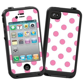 Bubblegum Polka Dot on White Skin for the iPhone 4/4S Lifeproof Case by skinzy.com