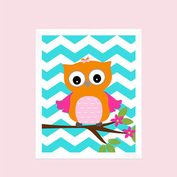Orange Pink Owl on Branch Nursery Decor Baby Print Bathroom Art CUSTOMIZE YOUR COLORS 8x10 Prints Nursery Decor Art Baby Room Decor Kids