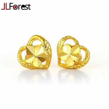 JLForest Fashion Heart Shaped Pure Gold Color Stud Earrings Women Bridal Arab Dubai Costume Design Jewelry Wedding Mini Earrings