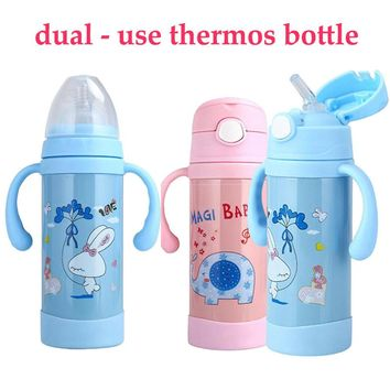 Dual-Use Stainless Steel Insulation Baby Bottle Feeding Bottles For Water Milk Child Straw Cup Portable Baby Bottles Cartoon Cup