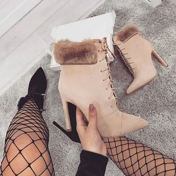 Lace Up High Heel Boots | Women's Ankle Boots