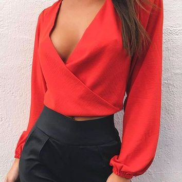 Liza Criss-Crossed Back-Tied Blouse