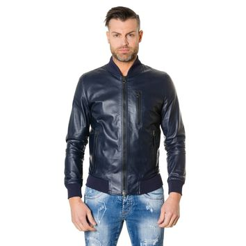 Men's Leather Jacket bomber with leather inserts blue colour Gaudil