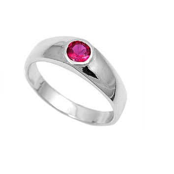 Sterling Silver Solitaire Bezel CZ Ruby 1MM CZ Petite Rings