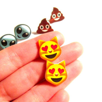 emoji earrings, grunge, soft grunge, kawaii, geekery, nerdy gifts