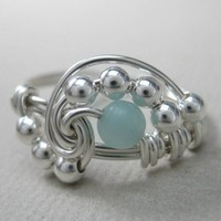 Pi Wire Wrapped Ring Amazonite and Sterling Silver by holmescraft