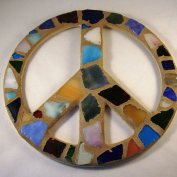 Sea Glass Mosaic Peace Sign, Beach Glass Peace Sign, Beach Glass, Wall Art, Peace Sign, Beach Decor, Shell Decor, Beach House