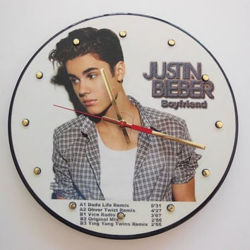 JUSTIN BIEBER Vinyl Record Wall Clock Picture Disc
