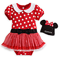 Minnie Mouse Red Disney Cuddly Bodysuit Dress Set for Baby - Personalizable