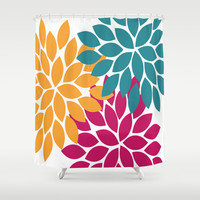 Bold Colorful Orange Navy Pink Dahlia Flower Burst Petals Shower Curtain by TRM Design