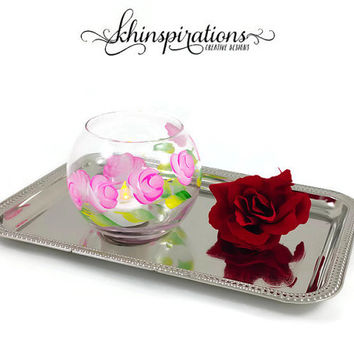 Pink Roses Tealight Votives, Hand Painted Candle Holders