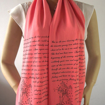 ANNA KARENINA Scarf Book Quote Scarf Handprinted Scarf with Illustration - Peach - Text Literary Scarf Book Lovers Gifts