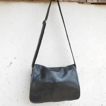 Vintage Black Leather Messenger Bag KATANA , Crossbody Bag , Ipad Bag , Book Bag / Large
