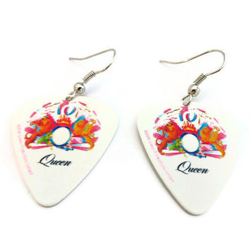 Queen Guitar Pick Earrings, Nickel Free, A Night At the Opera Album Art