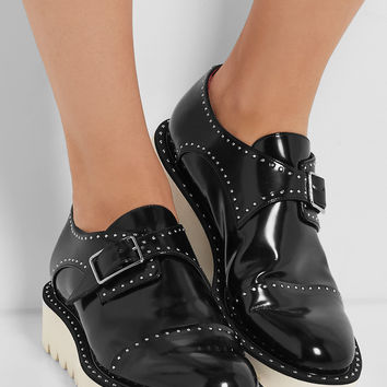 Stella McCartney - Odette studded faux glossed-leather brogues