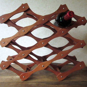 Wine Rack accordion expanding wood organizer vintage 70s 80s