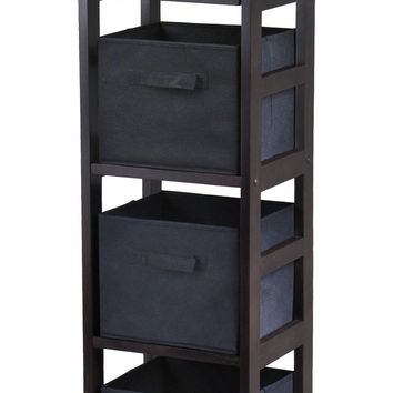 Wooden Espresso Finish Four Tier Storage Open Shelf with 4 Foldable Black Baskets by Winsome Woods