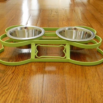 Raised dog dish stand, Choose your Color, Cat dish stand, Feeder stand, Wrought iron dish stand, 2 bowl dog dish stand, Small dog dish stand