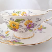 Paragon Wild Rose Tea Cup & Saucer - Fine Bone China floral wild roses flowers anemone wind white pink yellow green - footed - afternoon tea