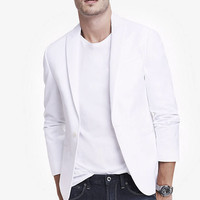 WHITE DENIM PEAK LAPEL BLAZER from EXPRESS