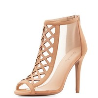 Qupid Laser Cut Peep Toe Dress Sandals