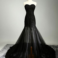 Sweetheart Black Floor Length Prom Dresses Evening Dresses
