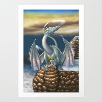 Ice Dragon Art Print by Egberto Fuentes
