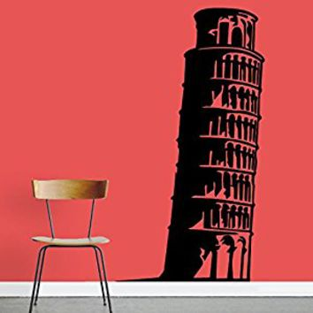 Wall Decal Vinyl Sticker Decals Art Decor Design Leaning Tower of Pisa statue Italy Beautiful Look Style Dorm Bedroom Office(r711)