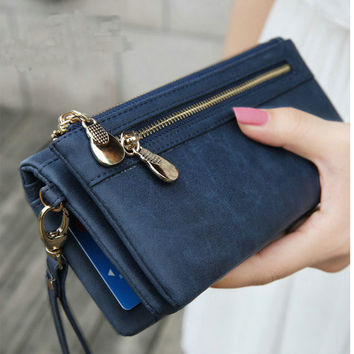 Fashion Women Wallets Dull Polish Leather Wallet Double Zipper Day Clutch Purse Wristlet Coin Purse Card Holder Billetera